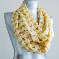 Handmade Cat Infinity Scarf - Summer Chiffon Scarf - Light Mellow Yellow