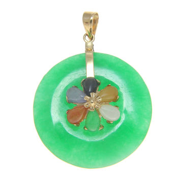 Best jade pendant 14k gold products on wanelo round circle multi color green jade pendant solid 14k yellow gold mozeypictures Gallery