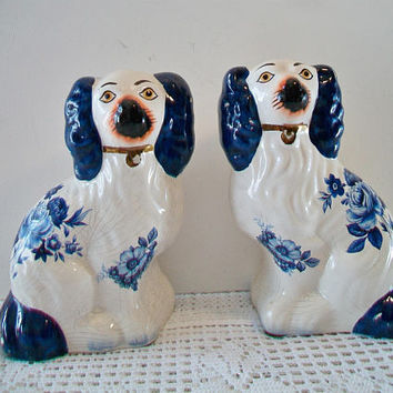 Vintage Blue White Staffordshire Dog Figurines Floral Mantle Figures Collectible Home Decor
