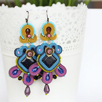 Colorful chandelier earrings, large multicolor earrings, long bohemian earrings, boho earrings, colorful jewelry