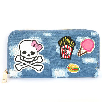 Patchwork Denim and Patch Print Clutch Zip Wallet