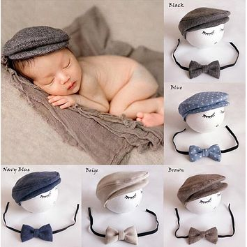 Cute Peaked Cap Newborn Baby Beanie Hat + Bow Tie Photo Photography Prop Baby Boys Girls Bear Caps
