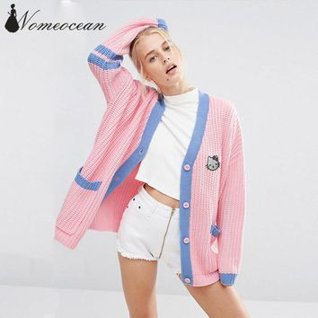 College Cardigan In Knitted Rib With Lazy Letter Back Women Cardigans 2018 Autumn Double Pockets Cat Applique Sweater M17050422