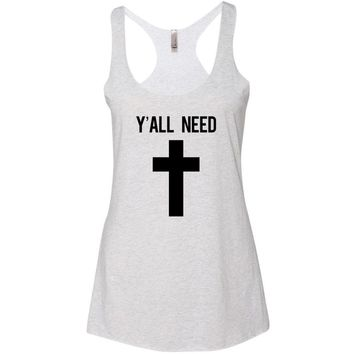 Y'all Need Jesus Cross Print  Athletic Racerback Tank Top