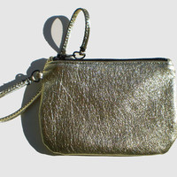 Metallic Gold Leather Wristlet - Free Shipping within US