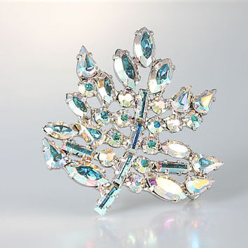 Rhinestone Leaf Brooch, B David wedding jewelry Aurora Borealis AB crystal Vintage Brooch