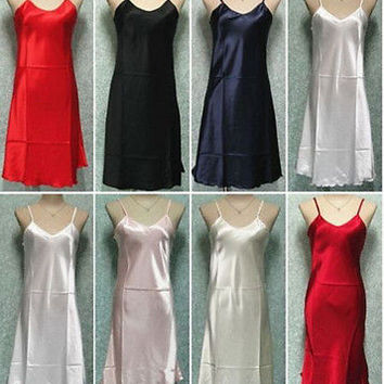 Plus Size S-2XL Sexy Women Satin Silk Nightie Nightdress Chemise Slip Sleepwear