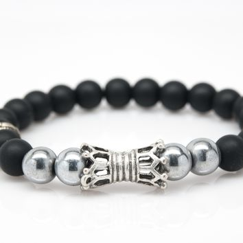 Black Onyx and Hematite Unisex Beaded Bracelet with Double Crown Charm