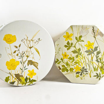 Vintage IRA Danish Flower Print Tins Biscuit Canisters, Pair of Storage Boxes, Made in Denmark