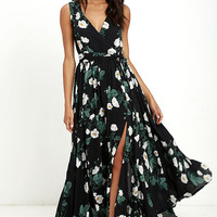 Magnolia Blooms Black Floral Print Maxi Dress