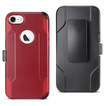iPhone 8 3-In-1 Hybrid Heavy Duty Holster Combo Case (Burgundy)