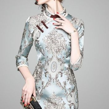 Jacquard Flower Qipao Dress