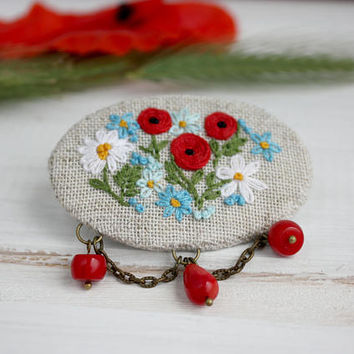 Wild Flowers Boho embroidered brooch  hand embroidered jewelry forget-me-not poppy daisie Linen Ukrainian vyshyvanka bohemian romantic gift