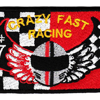 "Awesome Large ""Crazy Fast"" Racing Team 10cm Patch Badge for Shirt Hat Cap Jacket Applique"