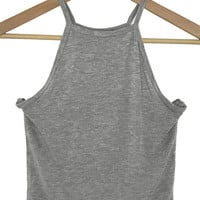 high neck ribbed crop top (heather grey)