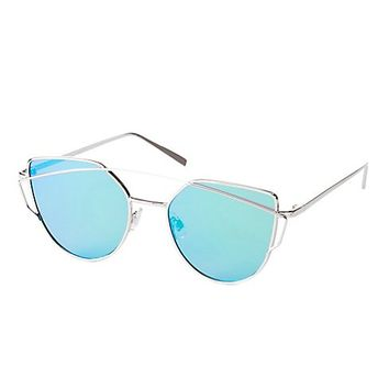 Metal Brow Bar Reflective Sunglasses