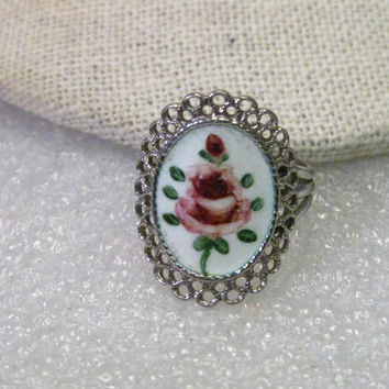 "Vintage Sterling Silver Enameled Rose Filigree Framed Ring, size 4.5,  7/8"" Long, Triple Band at Side, Mid-Century to 1970"