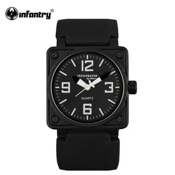 Men Quartz Watch Square Face Black Rubber Watch Fashion Casual Watch Navy Cycling Style