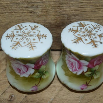 Lefton Green Heritage Rose Salt and Pepper Shakers, Vintage Salt and Pepper Shakers