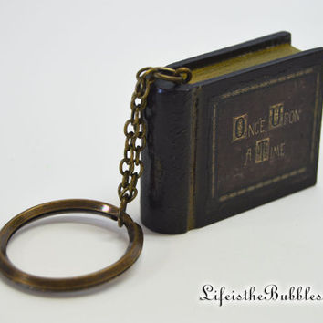 ONCE Upon a Time Miniature Book, Key Chain - Ornament, Henry's Once Upon a Time Book, Wooden Book, by Life is the Bubbles