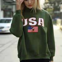 Letter American Flag print Sweater