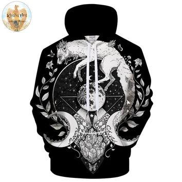 Moon child black by KhaliaArt 3D Printed Hoodies Sweatshirts Men Casual Tracksuits Novelty Pullover Unisex Brand Jacket ZOOTOP