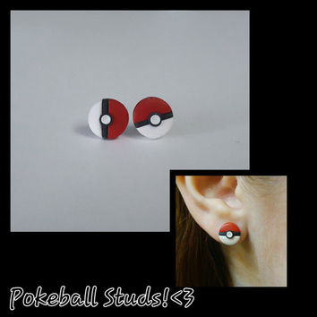 Pokeball Pokemon Earring Studs Polymer Clay