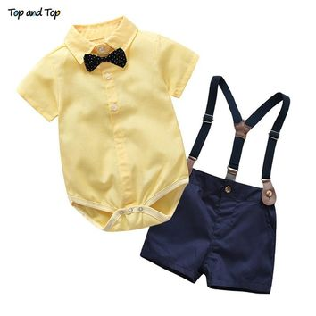Top and Top Toddler Boys Clothing Set Gentleman Suit Kids Short Sleeve Bow Tie Shirt+Suspenders Shorts Casual Baby Boy Clothes