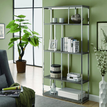 "Dark Taupe Reclaimed-Look / Chrome Metal 72""H Bookcase"