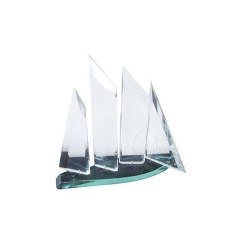 Pre-owned Lucite Kinetic Sailboat Sculpture