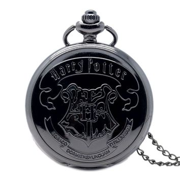 Hogwarts Harry Potter Theme Quartz Pocket Watch Necklace Chain the Deathly Hallows Women Men Fob Watches Gifts Drop Shipping