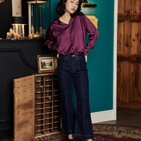 [OH.L] POINT SLEEVES BASIC BLOUSE_PLUM