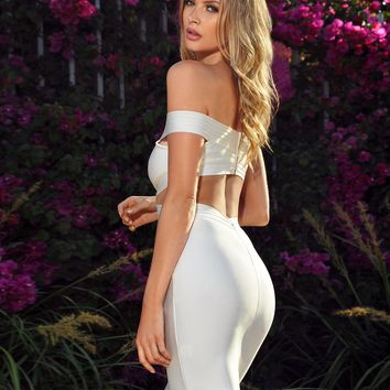 Adriana Criss Cross White Off Shoulder Cut Out Bandage Dress