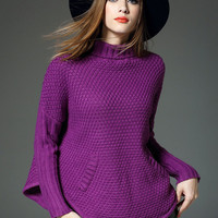 Bat Sleeve High-Neck Solid Color Thick Knit Sweater