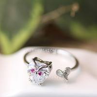 Tiny Heart Crystal Owl Ring Unique Animal Bird Ring Jewelry Size Adjustable