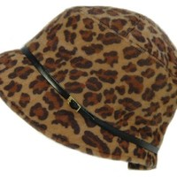 Woman's Leopard Print Faux Fur Belted Cloche Winter Hat Cap NEW!