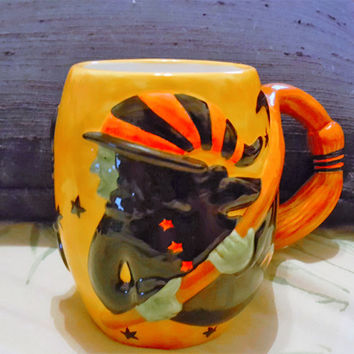 Certified International Susan Winget Vintage Halloween Witch on a Broom Coffee Mug