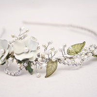 vintage rose and rhinestone wedding tiara by BeSomethingNew