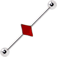 Surgical Steel Red Diamond Industrial Barbell Earring   Body Candy Body Jewelry