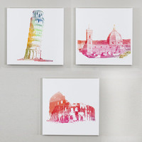 Landscapes in Italy Wall Art - Set of 3 Italian Landmarks Wall Canvases - Travel Decor, Italy Print, Leaning Tower of Pisa, Colosseum Print