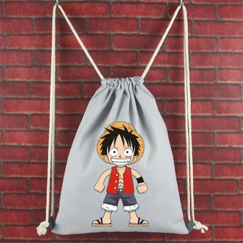 Japanese Anime Bag New Hot 2017  School Bags One Piece Drawstring Bag Canvas Luffy Bookbag Chirdren Teenagers Backpack Men Women Shoulder Bag AT_59_4