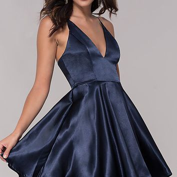 Short Satin V-Neck Homecoming A-Line Dress