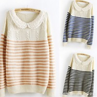 The pearl collar stripes College Wind cute sweater fs29