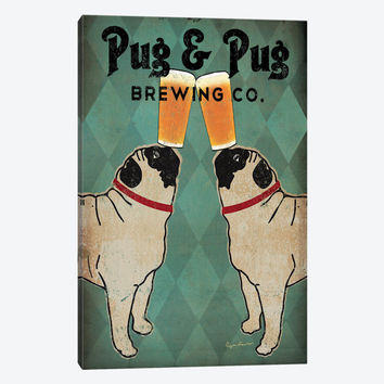 """Pug and Pug Brewing  by Ryan Fowler Canvas Print 18"""" L x 26"""" H x 0.75"""" D"""