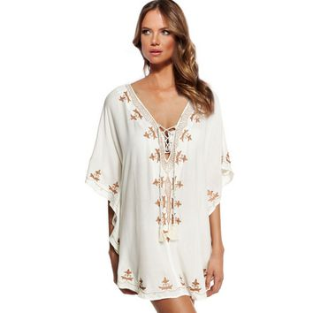 Embroidered Bikini Cover Up Beach Blouse B007592