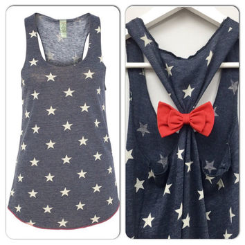 Bow Tank Top, Star Tank Top, 4th of July Tank, American Flag Tank Top, Country Tank, Councert Tank, Star Tank