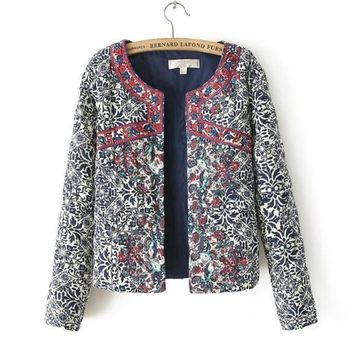 Bohemian Red Embroidery Blue White Floral Print Paisley Jacket Ethnic Women O neck Long sleeve Quilted Thin Padded Coats Suits
