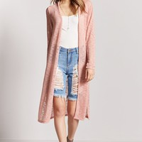 Heathered Open-Knit Duster Cardigan