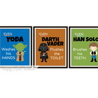 "Star Wars Bathroom Prints - Set of 3 Prints - ""Even YODA Washes his Hands"" Star Wars Print  // Pop Art Print // Star Wars Decor"