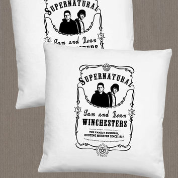 SUPERNATURAL Jack Daniels inspired pillow / Sam and Dean Winchester